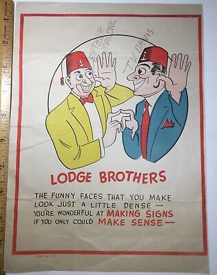 """Vintage Valentines, Penny Dreadful Or Vinegars 11X 8"""" """"Lodge Brothers"""" Shriners"""