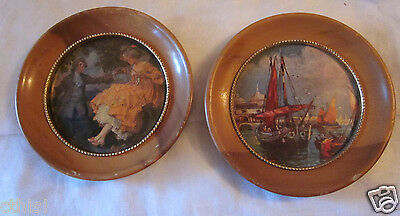 Vintage 1930s Ship Harbor & 1700s Lady Gent Round Small Wood Framed Print Lot 2