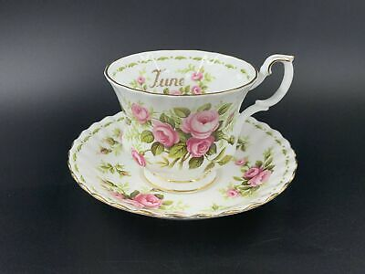 Royal Albert June Flower Month Series Roses Tea Cup Saucer Bone China England