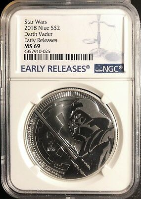 Niue 2018 Silver 1-oz. $2 Darth Vader - Star Wars NGC MS-69 Early Release