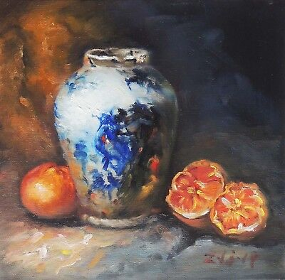 "Original Oil Painting Still Life Realism Blue White Vase W Fruit 10x10"" Fine Art"