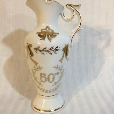 Vintage Lefton China 50th Anniversary Pitcher