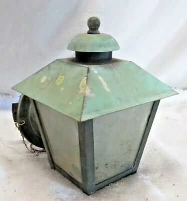 Vintage Copper 4-Sided Glass Panels Entry Wall Garage Sconce Light Fixture