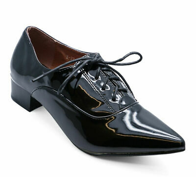Womens Black Patent Lace-Up Brogue Pointy Smart Work Casual Shoes Sizes 3-8