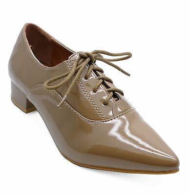 Womens Khaki Patent Lace-Up Brogue Pointy Smart Work Casual Shoes Sizes 3-8