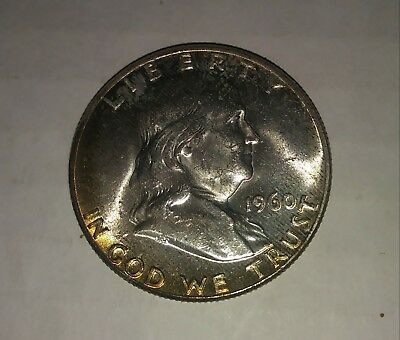 1960 Franklin Half Dollar, 90% Silver Gem A.U. Uncleaned Coin *** LOOKS B.U. ***