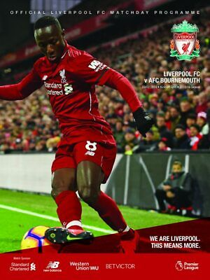 LIVERPOOL  v BOURNEMOUTH OFFICIAL PROGRAMME  9/2/2019
