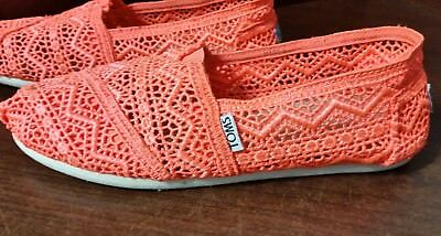 1f4222263ea TOMS Women s Neon Orange Lace Crochet Loafers Flats Slip On Shoes - Size w7