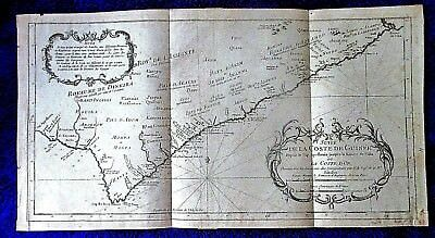 c1747 Antique MAP Chart W AFRICA SLAVE areas TRIBES kingdoms Gold Coast Bellin