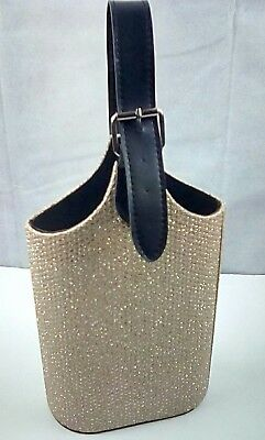"""Gold Silver Textured Sparkle Double Bottle Wine Carrier Faux Leather Buckle 15"""""""