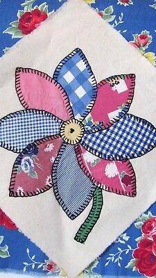 """DAHLIA SUNFLOWER DAISY QUILT BLOCK 11.5"""" sq PINK and BLUE 1935-40's GORGEOUS"""