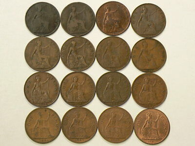 1897 to 1967 Great Britain Penny Lot of 16 Bronze Coins #1492