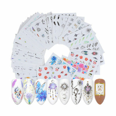 40 Sheets Feather Flowers Pattern Nail Decals Water Transfer Nail Art Stickers