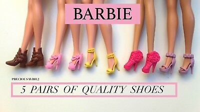 New Barbie Doll Clothes 5 PAIRS of Quality shoes clothing outfit accessories