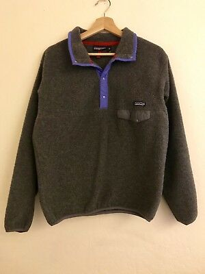 ee84f779d6c1b Vintage Women's Patagonia Snap T Gray Fleece Pullover Sweater Sz M Made In  USA