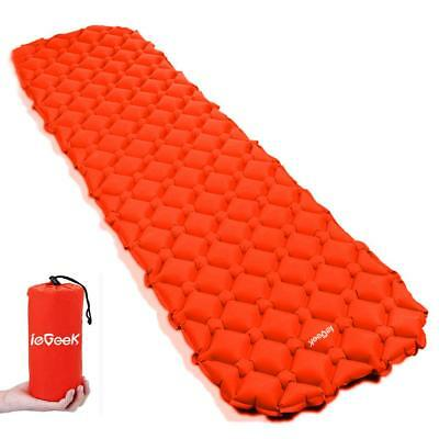 Ultralight Inflatable Sleeping Mat Camping Air Pad Roll Bed Mattress Orange NEW