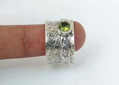 74++Solid 925 Sterling Silver Spinner Ring Peridot Stone Ring Handmade Any Size