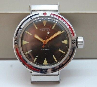 ☭ Watch Vostok Amfibian Eared Diver USSR Vintage Soviet Military 2209 *SERVICED*