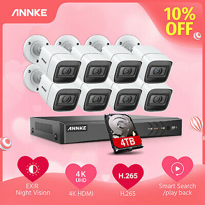 ANNKE 8CH 4K 8MP DVR 4/8 5MP Security Camera System Instant Alert EXIR Night 4TB
