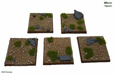 40mm Square Resin Scenic Bases Dirt/Grass Plains Warhammer, wargames