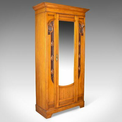 Antique Single Wardrobe, Satinwood, English, Compactum, Art Nouveau Circa 1920
