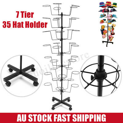 35 Hooks 7 Tier Hat Cap Jewelery Rotating Spinning Stand Rack Display Holder
