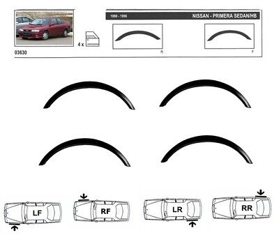 NISSAN PRIMERA P10  Wing Fender Wheel Arch Trims NEW set 4 pcs BLACK MATT '90-96