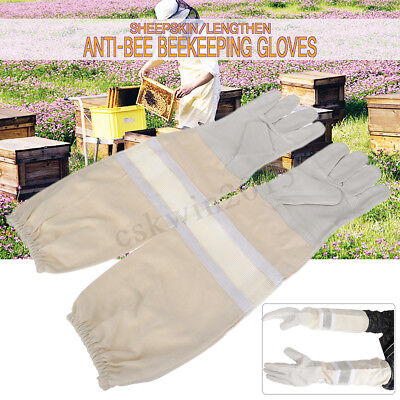 2X Extra Long Beekeeping Bee Gloves Soft White Goatskin Leather Canvas Gauntlet