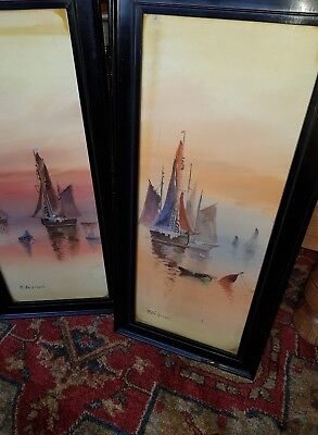 pair of  antique signed french nautical watercolour paintings in ebonised frames