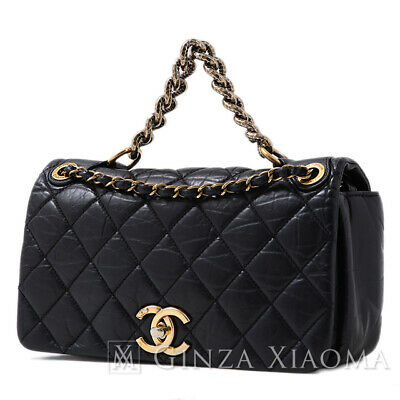 2b94eaa46317 Authentic Chanel 2WAY chain shoulder bag Vintage leather Black gold  Hardware Sho