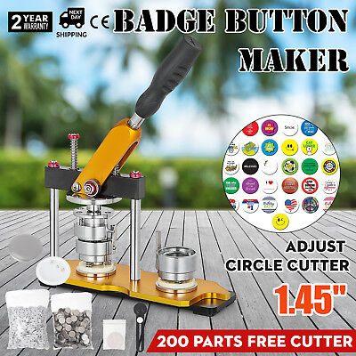 37mm(1.45'') Button Maker Rotate Machine 200Pcs Rope Ties Pin Buttons Metal Slid