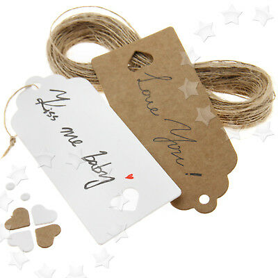 100 x Strings Heart Kraft Paper Hang Tags Gift Price Lables 9CMx4CM 2 Color