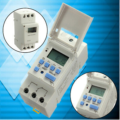 DC 12V 16A 50Hz DIN Rail Digital LCD Power Programmable Timer Time Relay Switch
