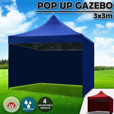 3x3m Pop Up Gazebo Outdoor Tent Folding Marquee Party Camping Market Canopy Side