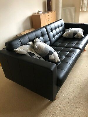 Ikea Landskrona Black Leather Sofa 3 Seat 280 00