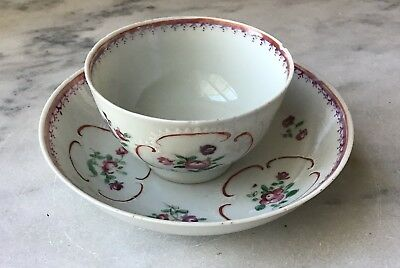Antique 18th Century Chinese Export Porcelain Teacup & Saucer, Hand Painted