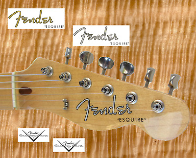 2 x Decalcomania Decal Fender Esquire Chitarra Guitar Gold  Grey