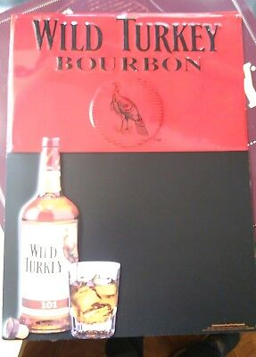 Wild Turkey Bourbon 101 Whiskey Red Black Embossed Metal Chalk Advertising  Sign ea13133a7de3