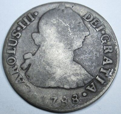 1788 IJ Spanish Silver 2 Reales Piece of 8 Real US Colonial Pirate Treasure Coin