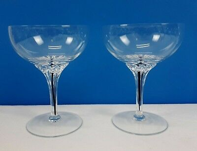 """BELFOR Exquisite Champagne Tall Sherbet Blown Glass Bohemia Lot of 2 Approx 5"""" T"""