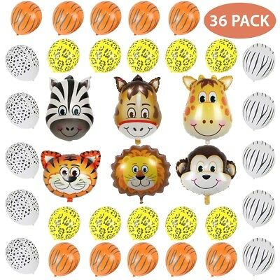 Animal Safari Helium Balloons Jungle Happy Birthday Party Foil Latex Decorations