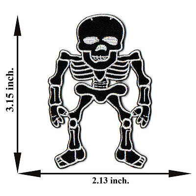 White Skull Bone Skeleton Biker Rock Applique Iron on Patch Sew Free Shipping