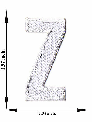 Alphabet Z White Color English Letter Applique Iron on Patch Sew For T-shirt