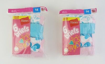 e5392f5d60eed 12 Tagless Hanes Girls Underwear Briefs 100% Cotton Assorted Colors - size  14