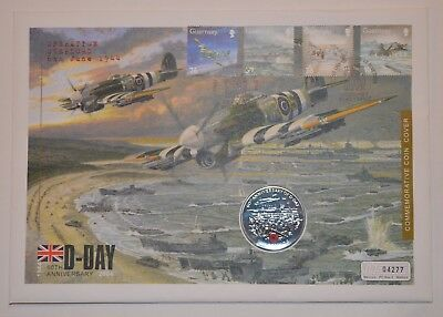 2004 60th Anniversary D-Day Guernsey £5 Five Pound Coin cover FDC PNC