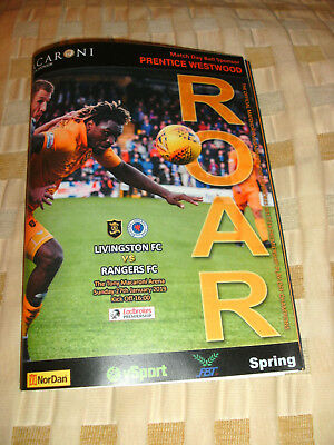 LIVINGSTON v RANGERS 27/1/2019 PROGRAMME ( MADE WITH THE HELP OF LIVINGSTON FC )
