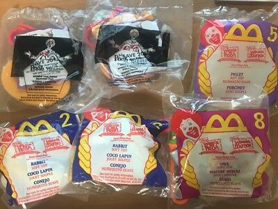 6-Pack McDonald's Happy Meal Winnie The Pooh Rabbit Piglet Owl Toys Message Pad