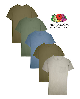 Fruit of the Loom® Men's 100% Cotton Pocket Tees in Assorted Colors 5-Pack
