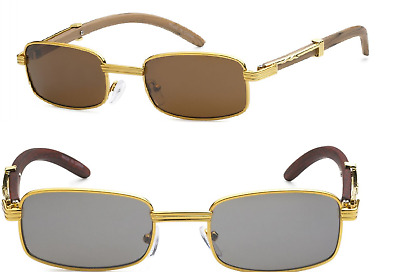 5e9238582e25 RETRO WOOD BUFFS Vintage Style 90s Gangster Metal Frame Sun Glasses ...