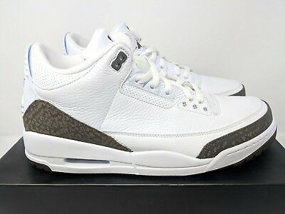 more photos a4de4 3d1e7 NIKE AIR JORDAN III 3 RETRO White Chrome Dark Mocha US MENS SIZE 10 BRAND  NEW